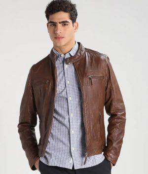 Mens Standing Collar Slimfit Brown Café Racer Leather Jacket