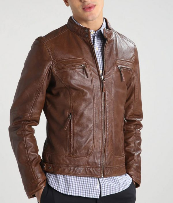 Flinchum Mens Café Racer Leather Jacket
