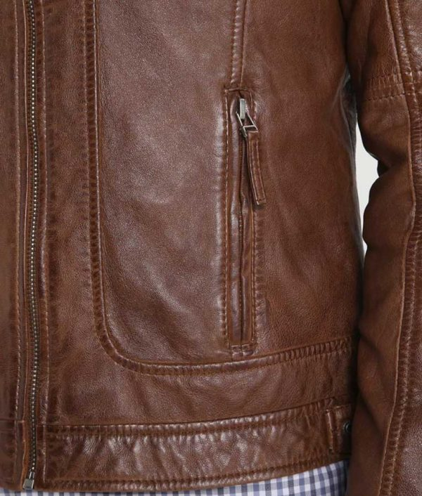 Flinchum Mens Standing Collar Slimfit Brown Café Racer Leather Jacket