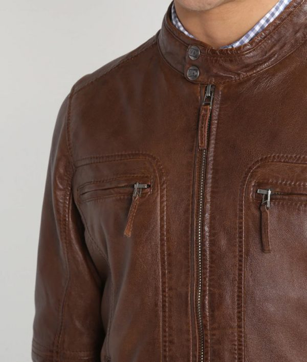 Flinchum Mens Standing Collar Slimfit Brown Leather Jacket