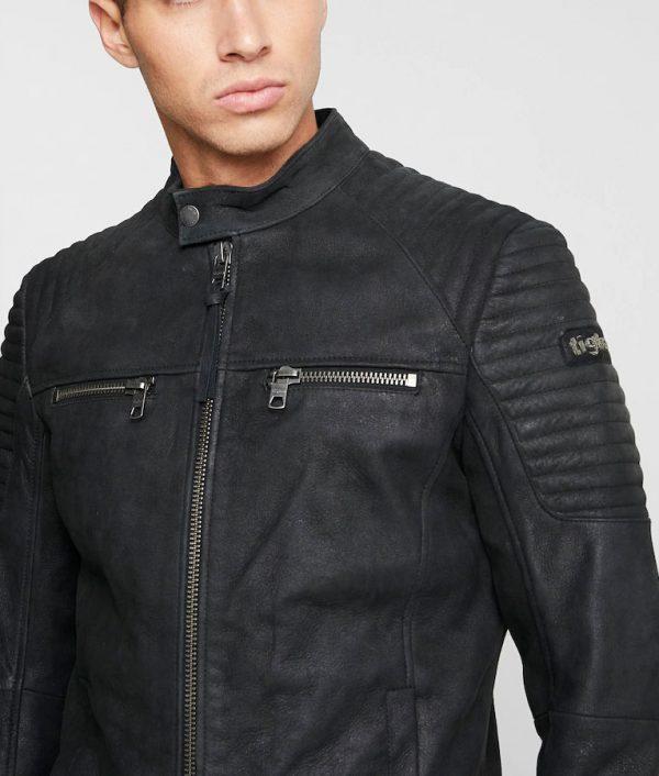 Floyd Mens Black Cafe Racer Jacket