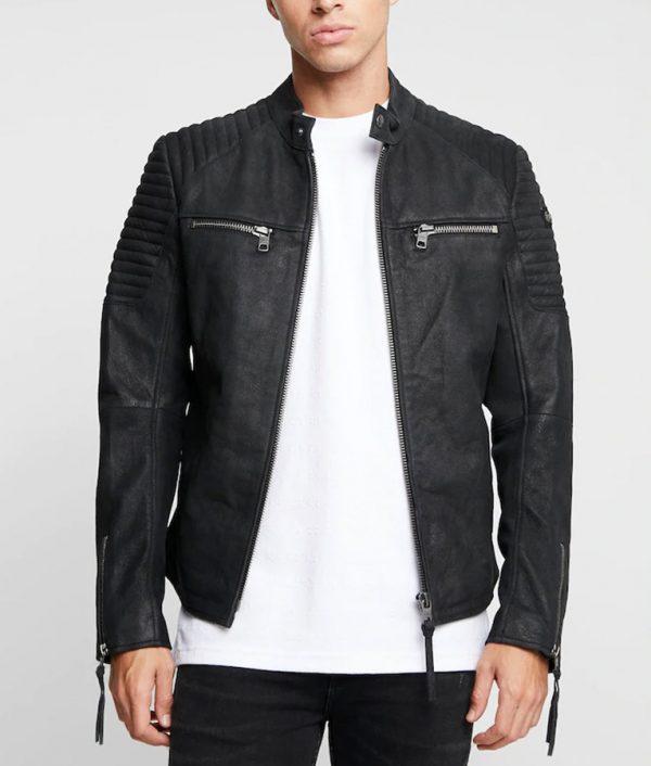 Floyd Mens Mandarin Collar Black Cafe Racer Jacket
