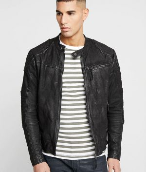 Forlonge Mens Zip Up Slimfit Leather Jacket