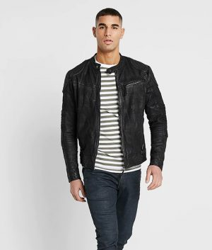 Forlonge Mens Zip Up Black Café Racer Leather Jacket
