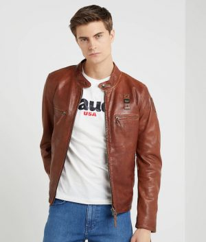 Freddie Mens Slimfit Brown Motorcycle Leather Jacket