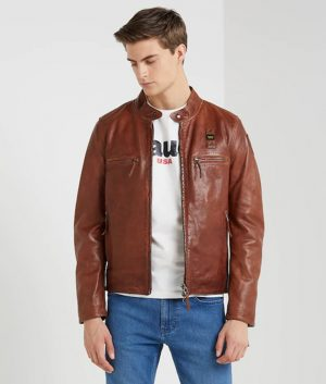 Freddie Mens Slimfit Brown Café Racer Motorcycle Leather Jacket