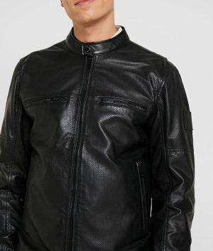 Mens Mandarin Collar Casual Black Cafe Racer Leather Jacket