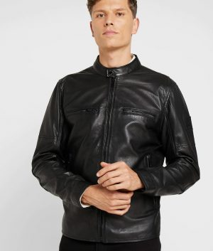 Fulghum Mens Mandarin Collar Black Cafe Racer Leather Jacket