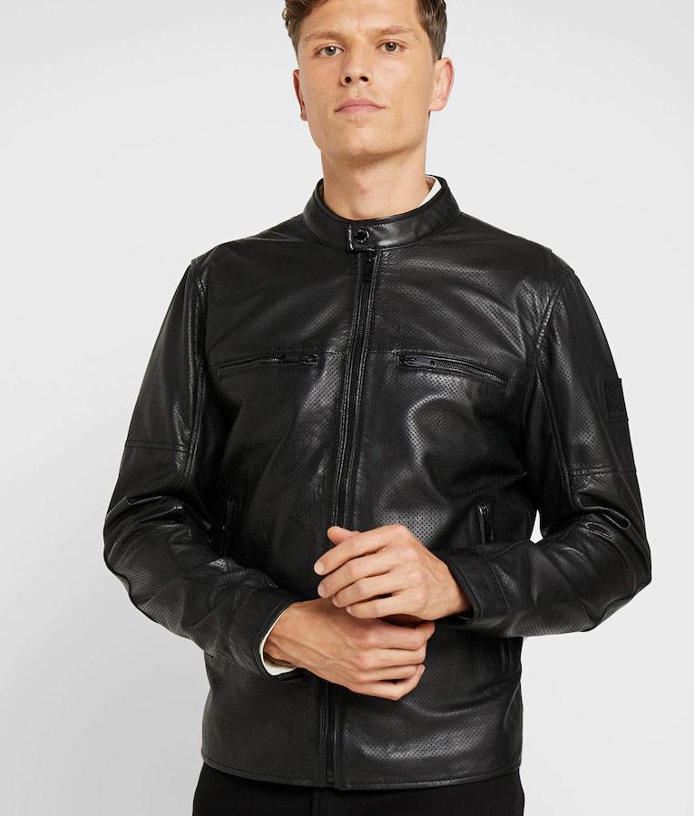 b2fd49c57446 Fulghum Mens Mandarin Collar Casual Black Cafe Racer Leather Jacket
