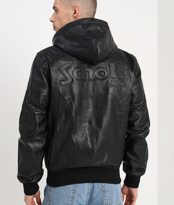 Mens Hooded Collar Zip Up Bomber Black Leather Jacket