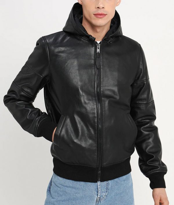 Garfield Mens Hooded Collar Zip Up Bomber Black Jacket