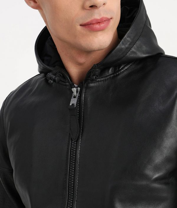 Garfield Mens Hooded Collar Zip Up Bomber Black Leather Jacket