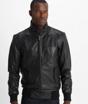 Gibson Mens Standing Collar Black Cafe Racer Leather Jacket