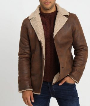Glenn Mens Lined Collar Brown Leather Jacket