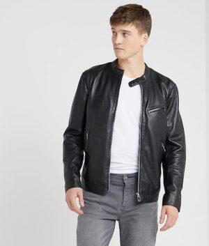Goyder Mens Mandarin Collar Slimfit Leather Jacket