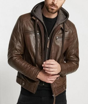 Grover Mens Hooded Collar Style Brown Café Racer Leather Jacket