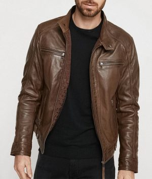 Mens Hooded Collar Style Slimfit Brown Café Racer Leather Jacket