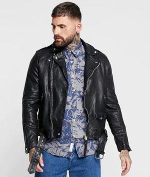 Mens Lapel Collar Slimfit Black Biker Leather Jacket