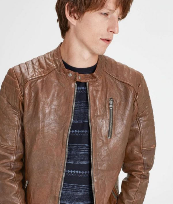 Mens Mandarin Collar Brown Café Racer Leather Jacket