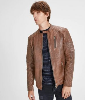 Harry Mens Mandarin Collar Leather Jacket