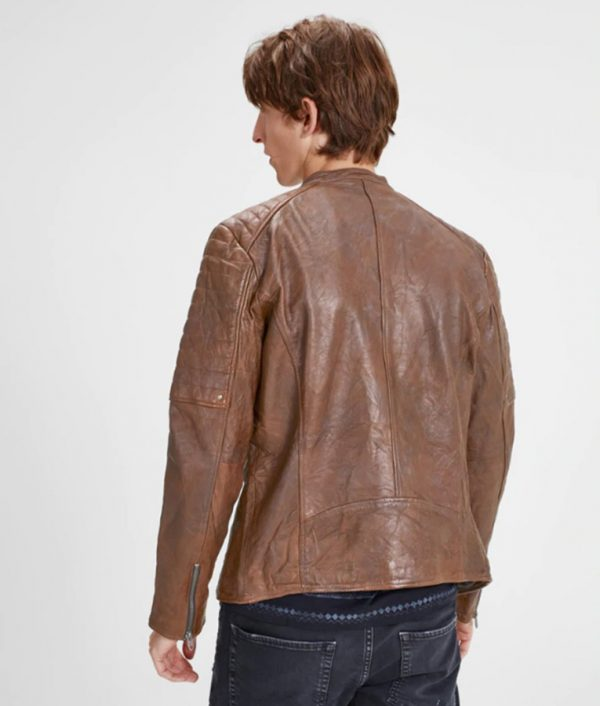 Harry Mens Mandarin Collar Brown Café Racer Leather Jacket
