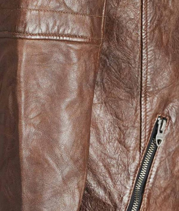 Harry Mens Mandarin Collar Brown Leather Jacket