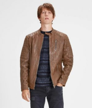 Harry Mens Brown Café Racer Leather Jacket