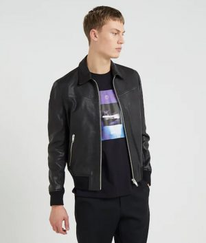 Henry Mens Turn Down Collar Black Bomber Leather Jacket