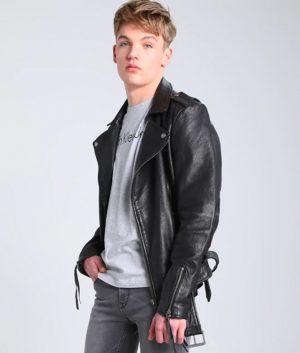 Henry Mens Lapel collar Black Slimfit Leather Jacket