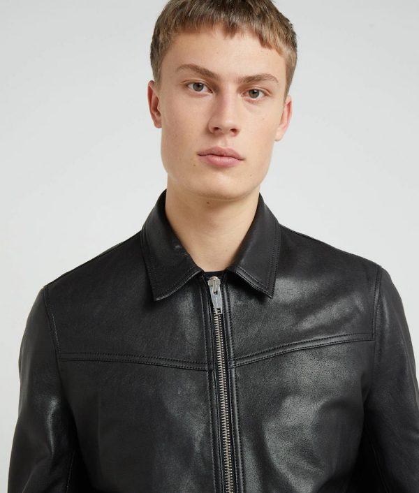 Henry Mens Turn Down Collar Black Leather Jacket