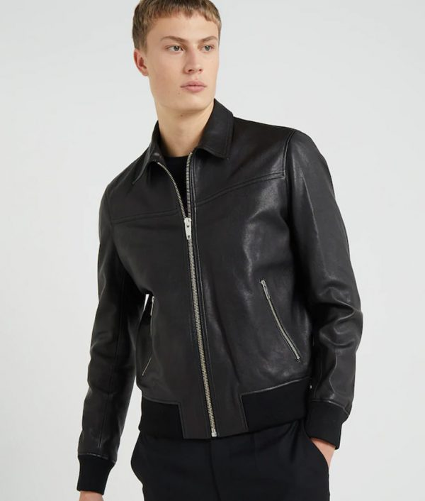 Henry Mens Turn Down Collar Black Bomber Jacket