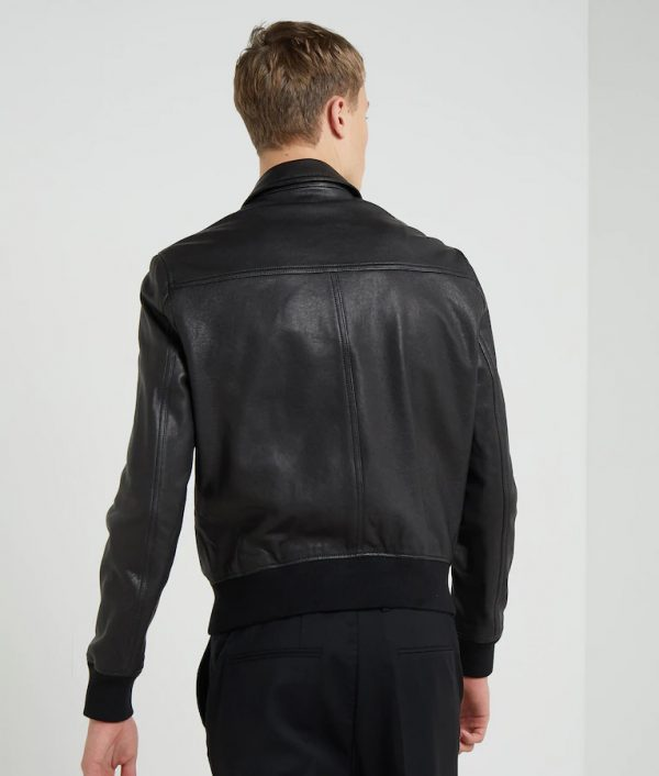Henry Mens Black Bomber Leather Jacket
