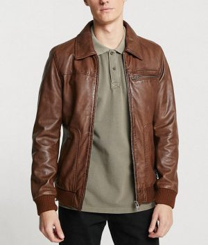 Hopman Mens Casual Turn Down Brown Leather Jacket