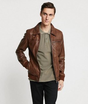 Hopman Mens Casual Turn Down Collar Brown Leather Jacket