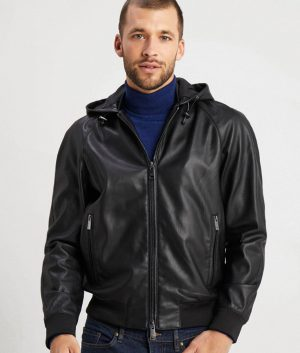 Mens Hooded Collar Black Café Racer Bomber Leather Jacket