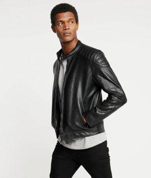 James Mens Mandarin Collar Biker Black Leather Jacket