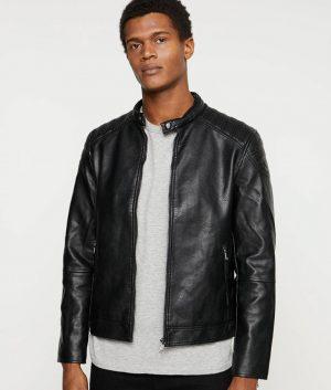 James Mens Mandarin Collar Black Leather Jacket