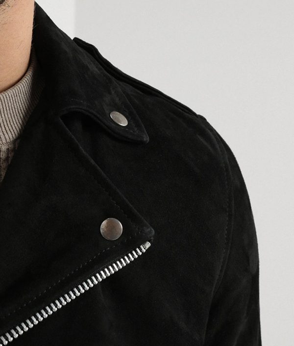 Jamie Mens Lapel Collar Seude Black Motorcycle Jacket