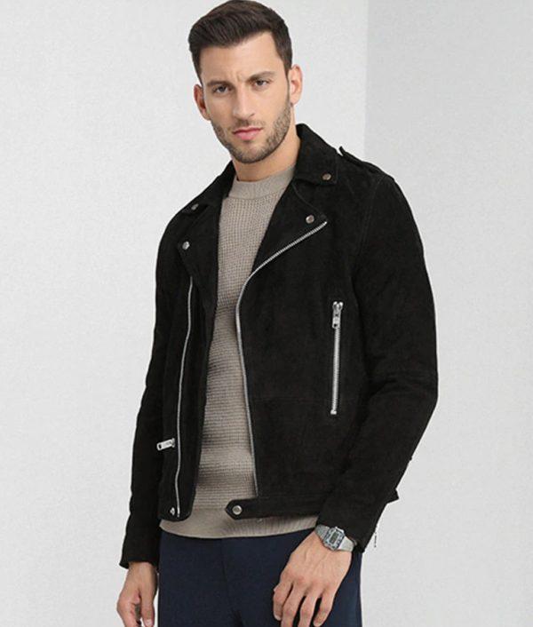 Mens Lapel Collar Seude Leather Black Motorcycle Jacket