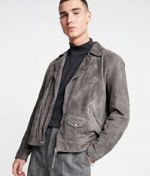 Jefferson Mens Grey Casual Style Leather Jacket