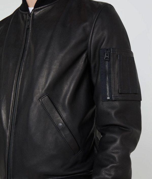 Jeffrey Mens Black Bomber Cafe Racer Leather Jacket
