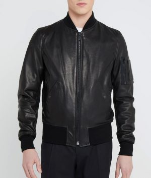 Jeffrey Mens Standing Collar Black Bomber Leather Jacket