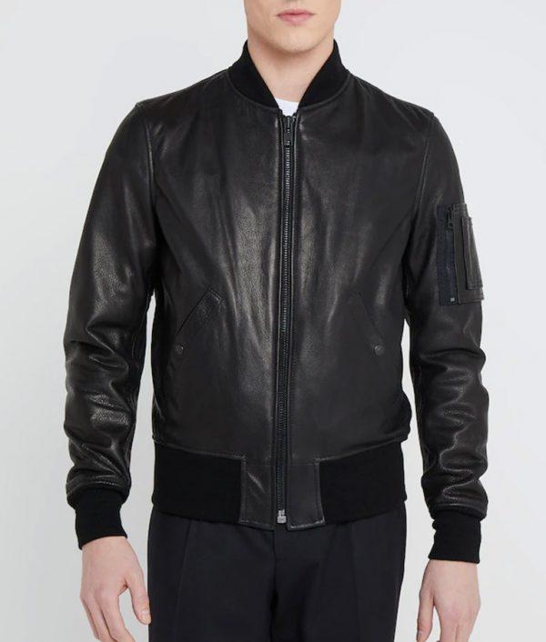 Jeffrey Mens Standing Collar Black Bomber Leather Jacket