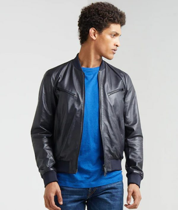 Mens Standing Collar Dark Blue Café Racer Bomber Leather Jacket