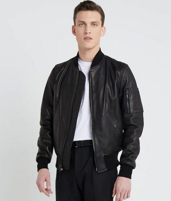 Mens Standing Collar Black Bomber Cafe Racer Leather Jacket