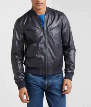 Jeffrey Mens Standing Collar Café Racer Bomber Leather Jacke