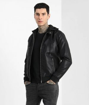 Jordan Mens Hooded Collar Slimfit Zip Up Black Café Racer Leather Jacket