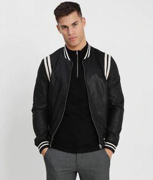 Joseph Men Mandarin Collar Black Leather Jacket