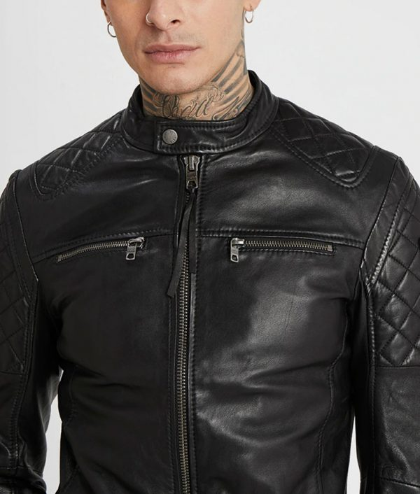 Mens Mandarin Collar Black Cafe Racer Leather Jacket