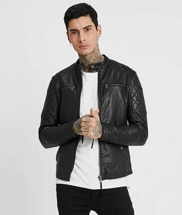 Kauffman Mens Black Cafe Racer Leather Jacket